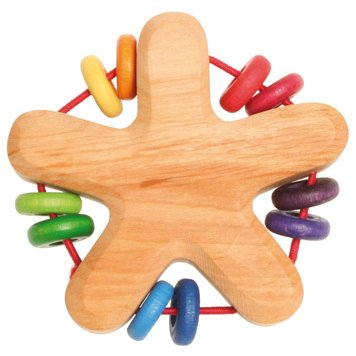 Details for Wooden star shaped rattle teether handmade features 10 colorful discs