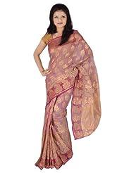 IndusDiva Jute Net Light Pink Saree