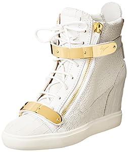 Giuseppe Zanotti Women's Embossed Wedge Fashion Sneaker,Ringo Bianco,7 M US