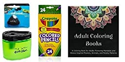 Crayola 24 Count Long Colored Pencils (68-4024) + Adult Coloring Book + Prismacolor Scholar Colored Pencil Sharpener (1774266) & Scholar Eraser (1774265) ... (24 Count)