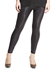 Plus Full Length Wet Look Faux Leather Leggings