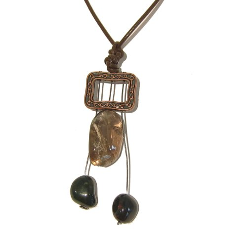 Bloodstone Necklace 05 Pendant Smoky Quartz Green Brown Leather Frame Crystal Healing Handmade Stone 23
