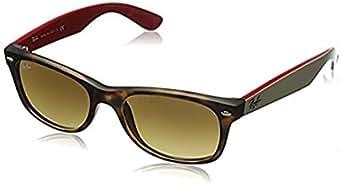 Ray-Ban New Wayfarer RB 2132 Sunglasses Matte Havana / Brown Gradient Dark Brown 52mm & Cleaning Kit Bundle