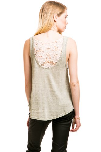 Casual Floral Lace Panel Tank In Heather Grey