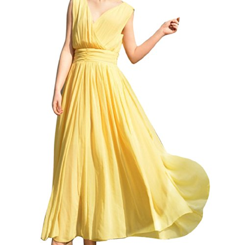 Sexy Bohemia Women Ladies Sleeveless Chiffon Deep V-Neck Wrap Dresses Size M - Yellow