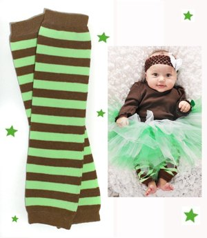 (#17) Mint Chocolate Chip Green & Brown baby leg warmers for boy or girl by My Little Legs