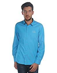 Oxemberg Men's Solid Casual 100% Cotton Blue Shirt