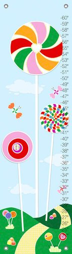 Oopsy Daisy Growth Charts Lolliland Girl Jen Christopher, Green, Blue, Pink, 12 x 42""