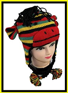 Sock Monkey Rasta Hat Animal Fleece Lined Earflaps Adult Child Ski Cap