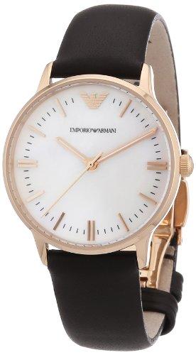 Emporio Armani AR1601 - Reloj analógico de cuarzo para mujer, correa de cuero color marrón