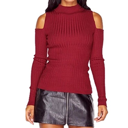abd-womens-cold-shoulder-high-neck-cable-pullover-sweater-knit-jumper-red
