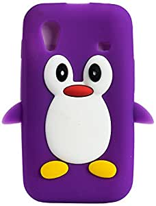 Purple Eyes Designer Penguin Back Case for Samsung Galaxy Ace S5830 (Purple)