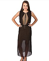 Vteens Khaki & Black Maxi Dress (vd1505-M_Multi Coloured_Medium)
