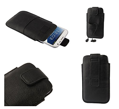 DFV mobile - Leather pouch case pocket sleeve bag with velcro & outer bag & buckle for => Starmobile Knight Vision > Black