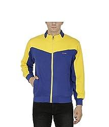 Avas Men's Cotton Sweatshirt (A_48_Blue Yellow_X-Large)