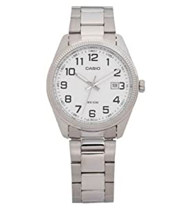 White Easy To Read Dial Casio Men's Classic Stainless Steel Bracelet Watch