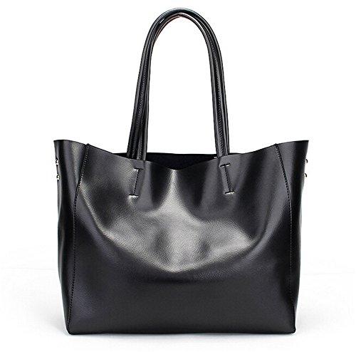 Santwo in vera pelle moda tote borsa Set per le donne, Black (oro) - BB0078-black