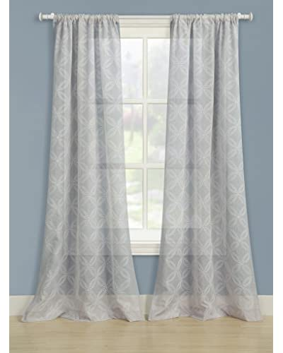 Laura Ashley Set of 2 Chancery Window Curtains, Gray