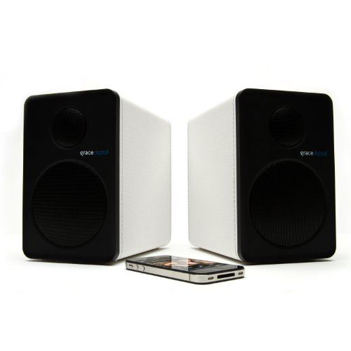 Grace Digital Gdi-Btsp208 Aptx Powered Bookshelf Bluetooth Speakers (Set Of 2, White)