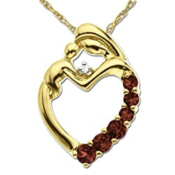 XPY 14k Yellow Gold Garnet and Diamond Mother Holding Child Pendant, 18""