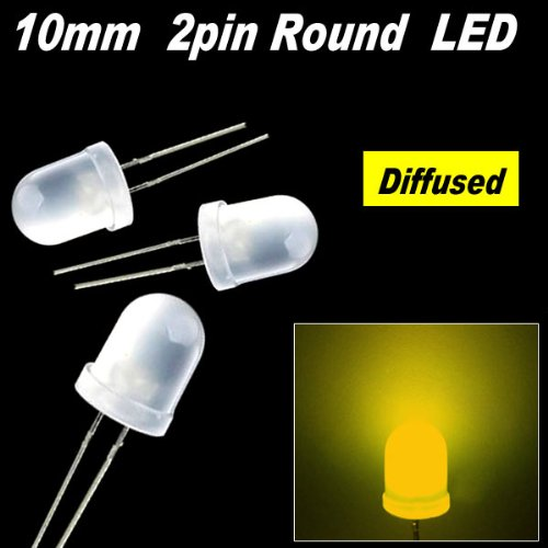 200Pcs X 10Mm Round Diffused Led Light 2Pin 10Mm Diffused Led Yellow Light