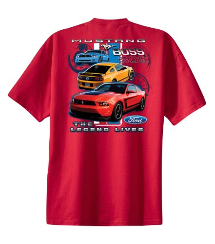 Ford Mustang Boss 302 Youth T-Shirt Legend Lives Design-Red-Ys