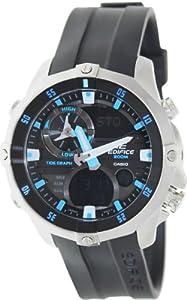 Casio Men's Edifice EMA100-1AV Black Rubber Quartz Watch with Black Dial