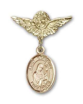 Gold Filled Baby Badge with St. Gertrude of Nivelles Charm and Angel w/Wings Badge Pin St. Gertrude of Nivelles is the Patron Saint of Accommodations/Cats
