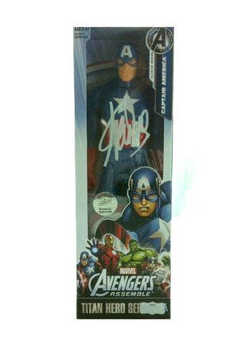 Stan Lee Autographed/Signed Marvel Avengers Assemble Captain America Action Figure Box