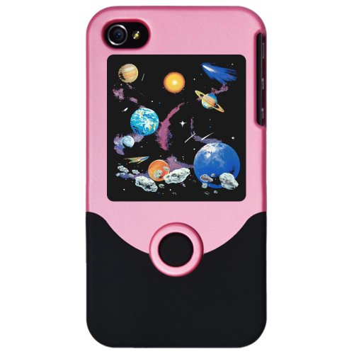 Iphone 4 Or 4S Slider Case Pink Solar System And Asteroids