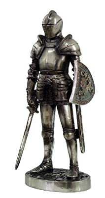 7 Inch Medieval Knight Collectible Statue Figurine Battle Crusader Sword Shield