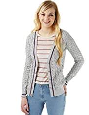 Angel Pure Cotton Cable Knit Spotted Cardigan