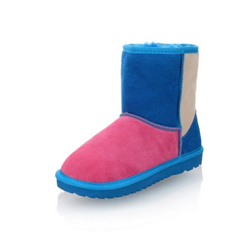 WeenFashion Women's Candies Colorful Ankle Snow Boots, Pink, 35