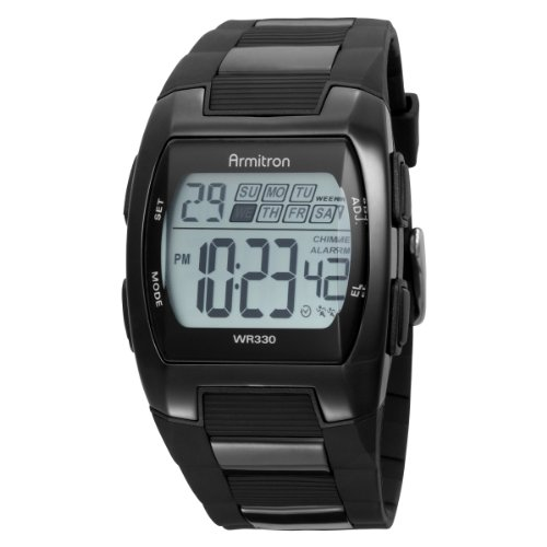 Armitron Men's 408154BTI Sport Chronograph Square Dial Black Strap Digital Watch