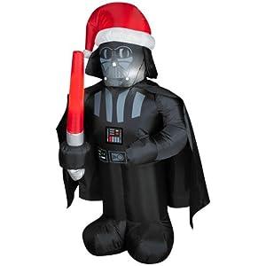 CHRISTMAS DECORATION LAWN YARD INFLATABLE AIRBLOWN DARTH VADER WITH SANTA HAT 3.5' TALL