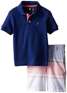 Nautica Boys 2-7 Short Sleeve Solid Polo and Plaid Short 2 Piece Set from Nautica