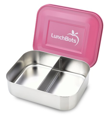 LunchBots Duo Stainless Steel Food Container, Pink