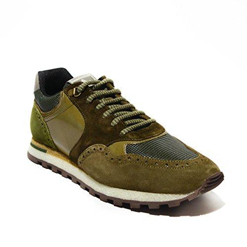 Brimarts sneakers uomo pelle verde militare made in italy art.318566 45