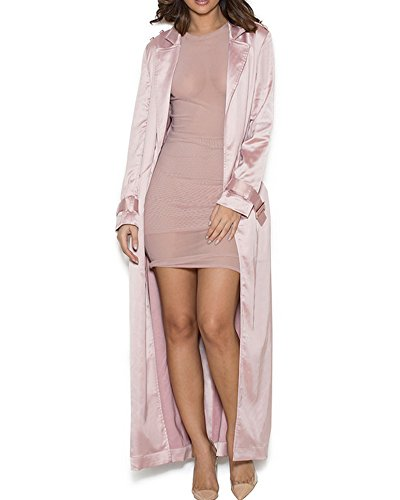 UONBOX Women's Long Sleeves Rose Gold Satin Duster Coat with Tie Wrappedrose goldM
