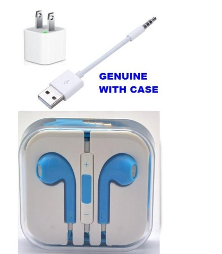 Limtech Earphone + Wall Charger + Apple Ipod Shuffle Usb Charger Sync Cable 3Rd, 4Th And 5Th (New In Box)