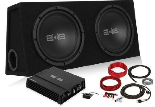 "Belva Bpkg210 1000W Complete Bass Package With Two 10"" Subs In Ported Box, Monoblock Amplifier And Amp Kit"