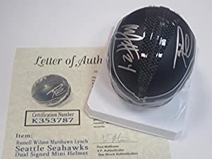Buy Russell Wilson Marshawn Lynch Dual Seattle Seahawks Signed Autographed Mini Helmet Authentic...