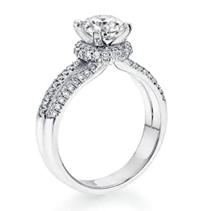Diamond Engagement Ring in 18K Gold / White Certified, Round, 1.60 Carat, K Color, SI1 Clarity