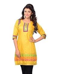Miss & Mrs Women's Jacquard Yellow Half Sleeve Kurti With Lace Border