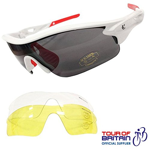 VeloChampion Warp Cycling Running Sports Sunglasses (with 3 lens: inc smoked, clear) (White Frame with Red Nose and arm ends)
