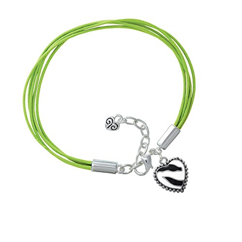 Enamel Zebra Print Heart Lime Green Leather Aruba Bracelet