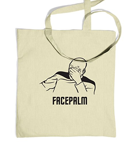 Captain Picard Facepalm Tote Bag - Natural One Size Tote Bag