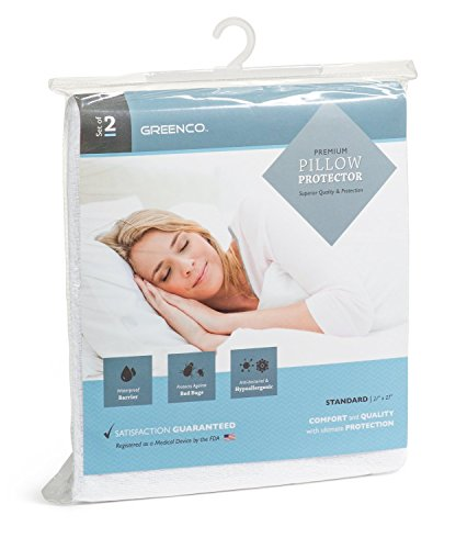 Greenco premium hypoallergenic bed bug dust mites proof for Best dust mite pillow protectors