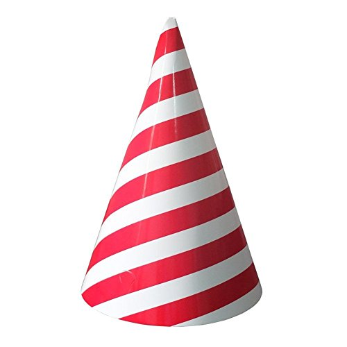 YARBAR Red Fresh Stripe Birthday Party Christmas Cap Decorations Holiday Party Supplies Cone Hats 12pcs (Polka Dot Paper Cones compare prices)