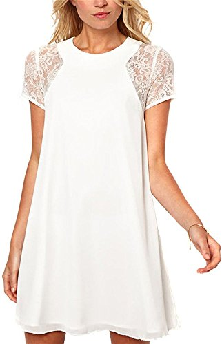 Streetwear Punk Style Mini Shift Baby Doll Tunic Dress Blouse Top XL White